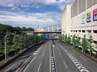 コースとなった南大沢駅前を通る「多摩ニュータウン通り」.jpg